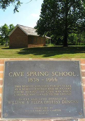 Jasper County, Missouri - Cave Spring School, the site of Jasper County circuit court in 1865, is located at 4323 County Road 4 near La Russell.