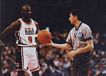 Jordan receiving a ball from a referee