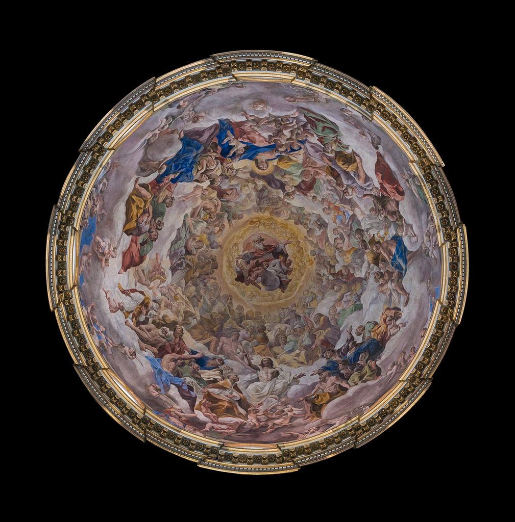 """""""Le Paradis"""", par Giovanni Lanfranco, coupole de la chapelle de Saint-Janvier (San Gennaro), Cathédrale de Naples, Italie - Photo de Jebulon"""