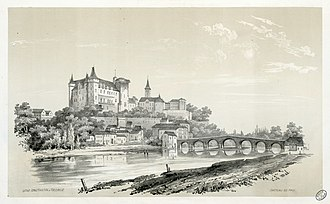 Château de Pau - the casle in 1843, by Eugène de Malbos