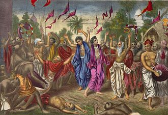 Kirtan - Some Vaishnavism sub-traditions believe in public kirtan performance, with songs and dance. A painting of a 19th-century performance by Chaitanya group in Bengal.