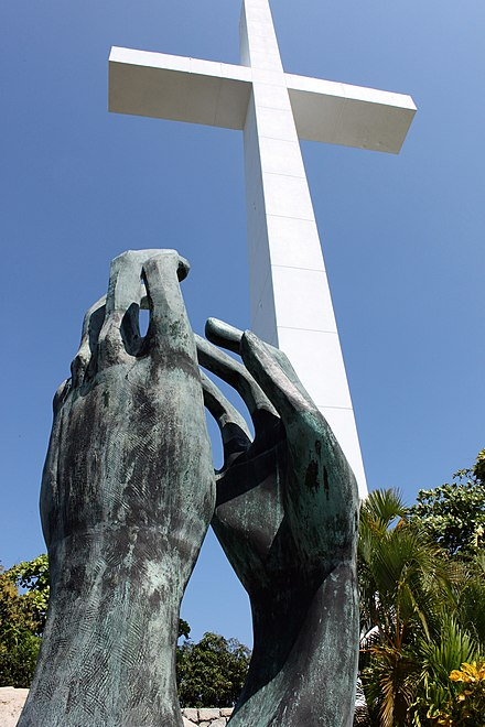 The Hands of the Brotherhood and Cruz of the Peace Ecumenical Chapel Chapel of Peace Hands and Cross.jpg