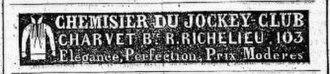 Charvet Place Vendôme - Advertisement (March 1839).