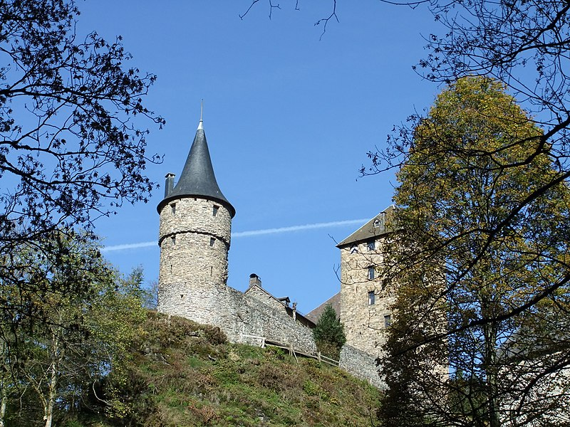 Chateau Reinhardstein, taken from the stream in the valley below