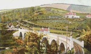 Chelfham Viaduct - Chelfham Viaduct: Newly built, about 1900