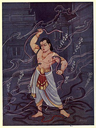 Bhima - Bhima fighting with the Nagas