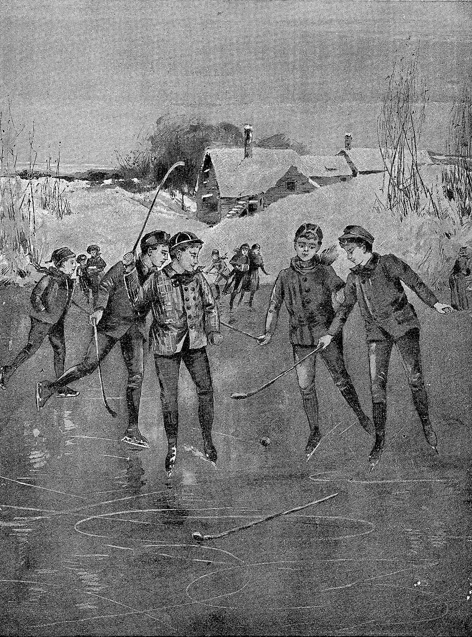 Children playing ice hockey - illustration