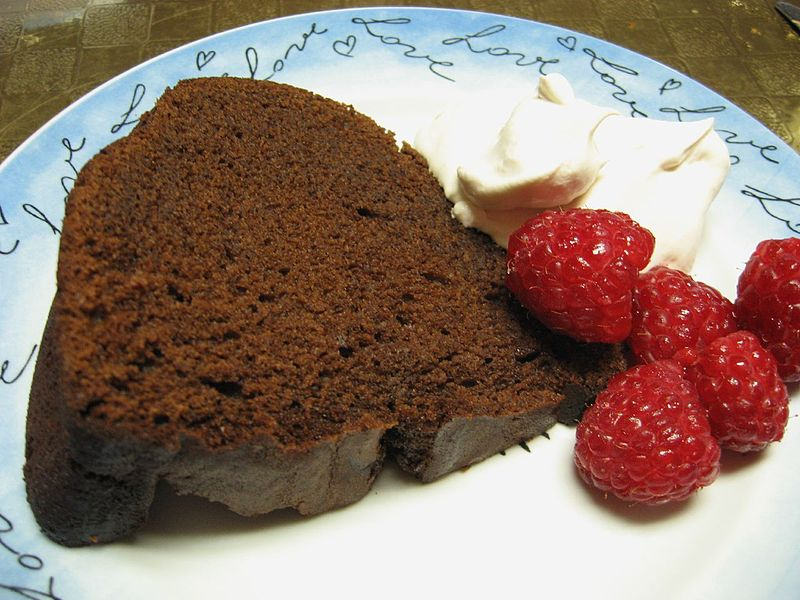 File:Chocolate sour cream Bundt cake with whipped cream and raspberries.jpg
