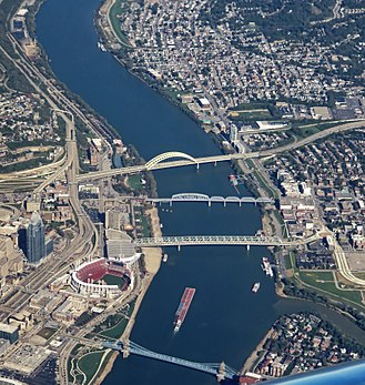 Downtown Cincinnati - Four bridges over the Ohio River in downtown Cincinnati.  At right, parts of Bellevue, Newport, and Covington are visible.