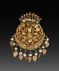 Earring with Four-Armed Vishnu Riding Garuda with Nagas (serpent divinities)