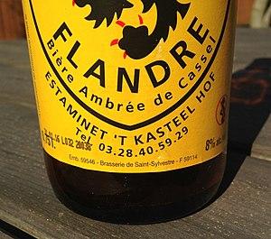 "Brasserie de Saint-Sylvestre - Close up of a bottle of Kassels Bier, the ""House Beer"" of the Estaminet 'T Kasteel Hof, showing brewery"