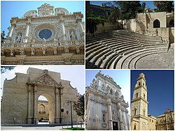 Top left: Church of Santa Croce, Top right: Lecce Teatro Romano, Bottom left: Lecce Porta Napoli in Universita Street, Bottom middle: Saint Giovanni Cathedral in Perroni area, Bottom right: Lecce Cathedral in Duomo Square