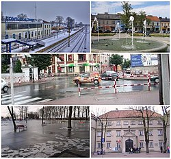 Top left: Łowicz Railway Station, Top right: New Town Market Place, Middle: Kurkowa Street Bottom left: Błonie, Bottom right: Museum