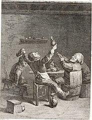 Une Compagnie de cinq Paysans autour d'une table, occupé a boire et chantant