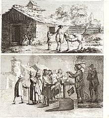 Deux gravures: homme à cheval en un charlatan