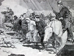 Prisioneros procedentes de la comuna siendo trasladados a Versalles (extraído de una revista moderna).