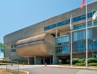 Community College of Rhode Island - The front side of the Knight Campus in Warwick, designed in Brutalist style.
