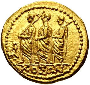 Lictor - Gold coin from Dacia, minted by Coson, depicting a consul and two lictors