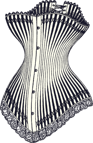 Corset - A drawing of a luxury hourglass corset from 1878, featuring a busk fastening at the front and lacing at the back