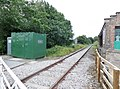 Crakehall railway station & crossing keepers hut, view west to Leyburn, Wensleydale Railway, Yorkshire.jpg