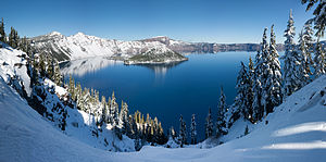 Crater Lake - Panoramic winter view of Crater Lake from Rim Village