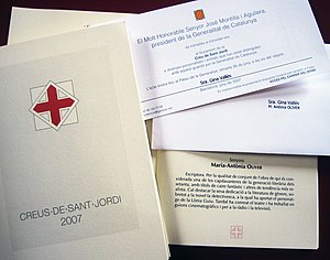 Creu de Sant Jordi Award - This award was named after Saint George, one of the main symbols of Catalonia.