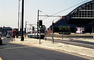Manchester Central railway station - A Metrolink tram (1992)