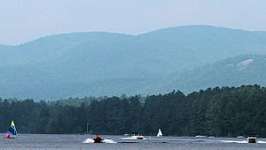 Crystal Lake (Gilmanton, New Hampshire) - Image: Crystal lake in the summer with gunstock moutain in the background