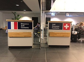 France–Switzerland border - French–Swiss customs post in EuroAirport Basel Mulhouse Freiburg, 2018