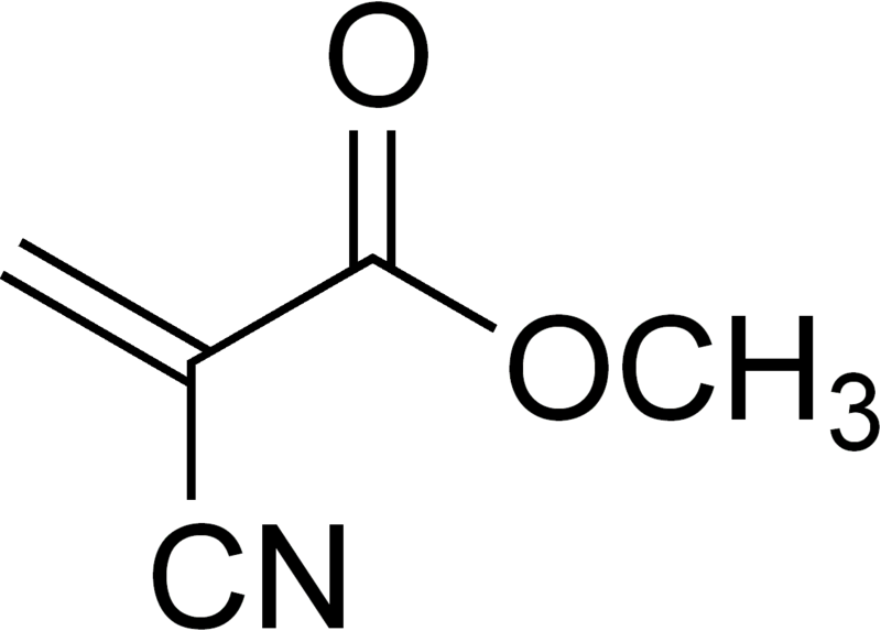 Chemical structure of crazyglue (methyl 2-cyanoacrylate)