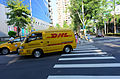 DHL Mitsubishi Delica Driving into Lane 131, Minsheng East Road Section 4, Taipei City 20141002.jpg