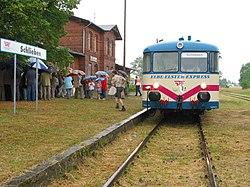Deutsch: Erste Fahrt des Elbe-Elster-Express zum Moienmarkt in SchliebenEnglish: First tour of the Elbe-Elster-Express to the Moienmarket in the city of Schlieben