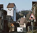 Dagersheim (1990) mit evangelischer Kirche (1422 Hl. Fridolin, 1784 St. Agathe-Kirche) - panoramio.jpg