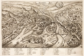 17th century 3D-map of Bamberg. Matthias Merian in Danckerts, Historis, 1632. Dankaerts-Historis-9331.tif