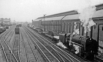 Darlington railway station - Down freight passing the station in 1961