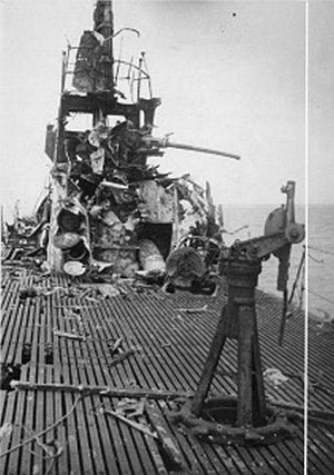 USS Darter (SS-227) - Destruction on the deck after she was grounded and destroyed by shellfire on Bombay Shoal off Palawan
