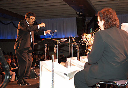 David Baker, a music educator, composer and conductor, (far left) leads the Smithsonian Jazz Masterworks Orchestra during the NEA Jazz Masters awards ceremony and concert in 2008. David Baker (far left) leading the Smithsonian Jazz Masterworks Orchestra.jpg
