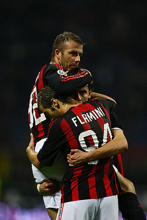 Football : Filippo Inzaghi celebrates his goal...