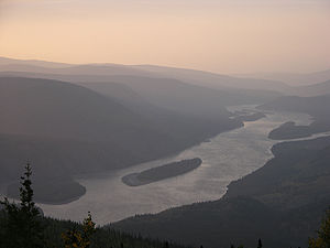 A closeup photograph of Yukon River from Midni...