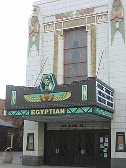 The Egyptian Theatre in Downtown DeKalb.