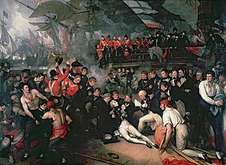 The Death of Nelson, 21 October 1805 - West's version of the scene