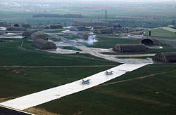 Decoy F-16s and runway at Spangdahlem AB 1985.JPEG