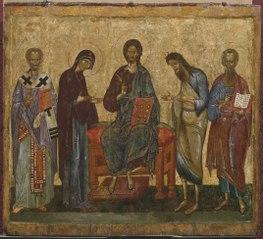 Deesis med den helige Nikolaus och ett okänt helgon