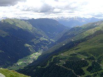Defereggen Valley - View from the Wetterkreuz in St. Jakob over the Defereggental looking towards Austria's highest mountain, Großglockner