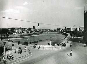 Skopje - The main river running through the center of Skopje c. 1950