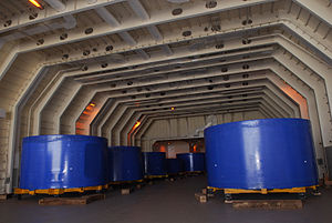 Delta Mariner cargo hold with Ares I-X stage simulators (08PD-3495).jpg