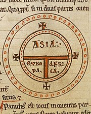 12th century T-O map representing the inhabitated world as described by Isidore of Seville in his Etymologiae. (chapter 14, de terra et partibus).