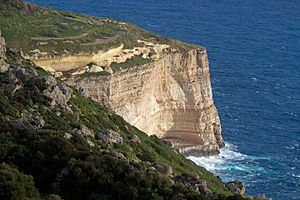 Cliffed coast - Dingli Cliffs in Malta.