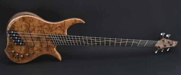 A Dingwall Prima Artist bass guitar that features Fanned Frets.
