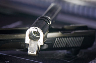 Feed ramp - Rear side of a CZ-75B pistol barrel showing the (here dirty) feed ramp.